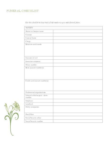 funeral service sheet template funeral planning checklist