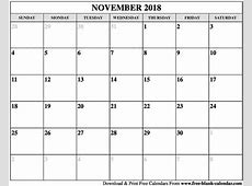 Blank November 2018 Calendar Printable