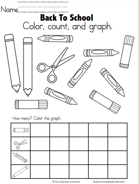 school objects worksheet for kindergarten back to school graph freebie graph and count to 5