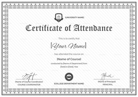 attendance certificate design template  psd word