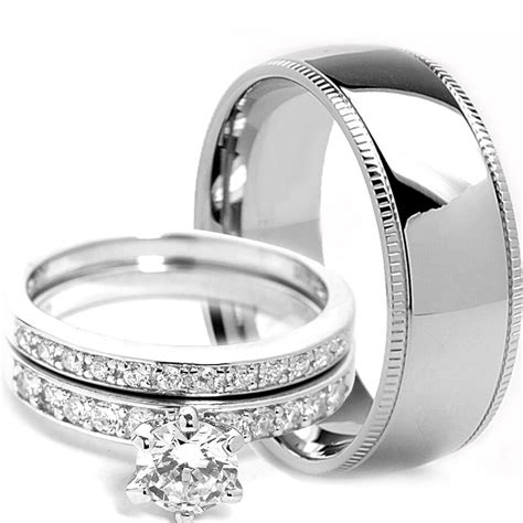 mens milgrain titanium band womens sterling silver engagement wedding ring ebay