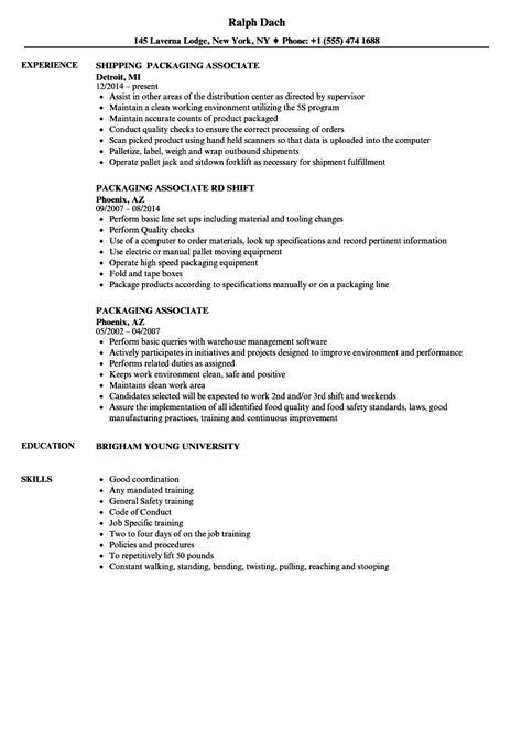 Resume For Packaging by Packaging Associate Resume Sles Velvet