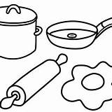 Kitchen Utensils Coloring Pages Drawing Cooking Getdrawings sketch template