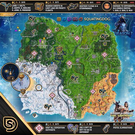 fortnite week 7 challenges fortnite sheet map for season 7 week 7 challenges
