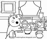 Peppa Pig Cartoon Coloring Printable Colorir Drawing Desenhos Baking Wutz Ausmalbilder Bolo Colorare Zum Princess Cupcake Pepa Cooking Ausmalen Simple sketch template