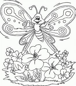butterfly over flowers coloring page - coloring.com