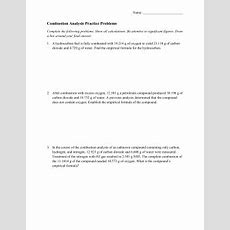 Combustion Reaction Worksheet Siteraven