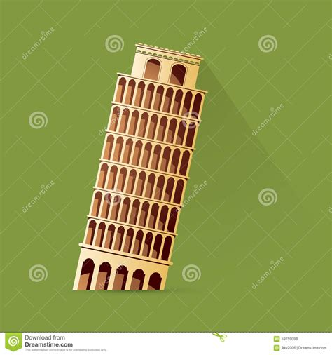 toren van pisa tekening leunende toren van pisa vector illustratie afbeelding