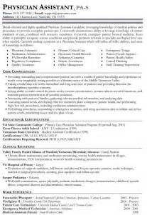resume for pa school physician resume