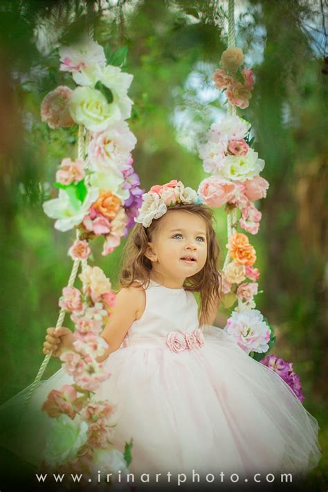 spring photoshoot idea flowers swing tree girl tutu
