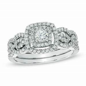 double frame bridal sets and white gold on pinterest With previously owned wedding rings zales