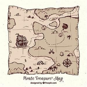 Mapa del tesoro pirata dibujado a mano Descargar Vectores gratis