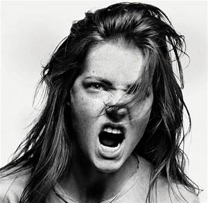 Powerful expression, intense, anger, portrait, photo b/w ...