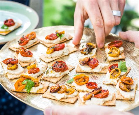 easy canapes to in advance roast tomato and baba ganoush canapés