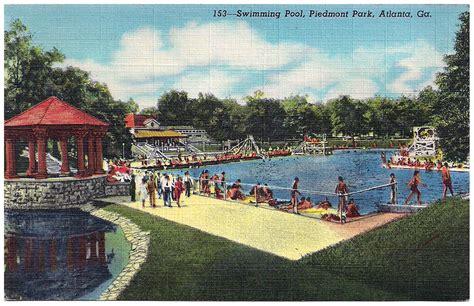 piedmont park parking deck drive piedmont park swimming pool postcard
