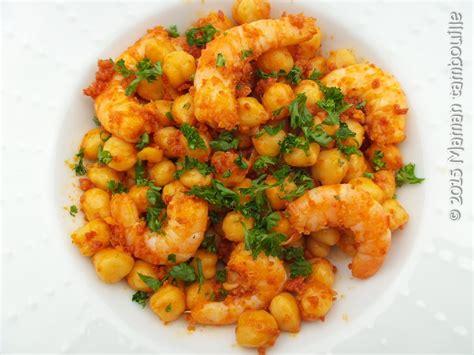 recette cuisine facile et rapide crevettes aux pois chiche et chorizo maman tambouille