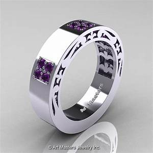 mens modern vintage 14k white gold amethyst wedding band With mens amethyst wedding ring