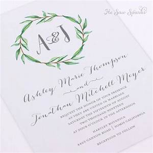 printable wedding invitation watercolor monogram wreath With free printable calligraphy wedding invitations