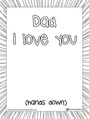 dad  love  hands  printable page summer