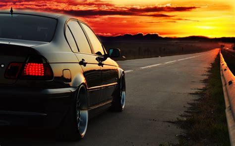 fond decran photoshop le coucher du soleil vehicule
