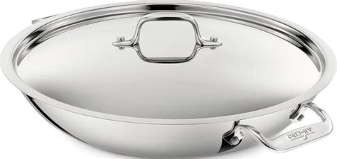 clad  stainless steel tri ply bonded dishwasher safe paella pan  lid cookware