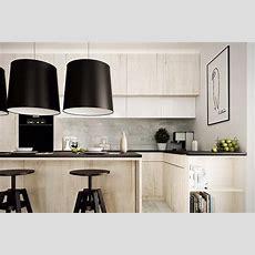 Schwarze Arbeitsplatte Und Küche Aus Hellem Holz Kitchen
