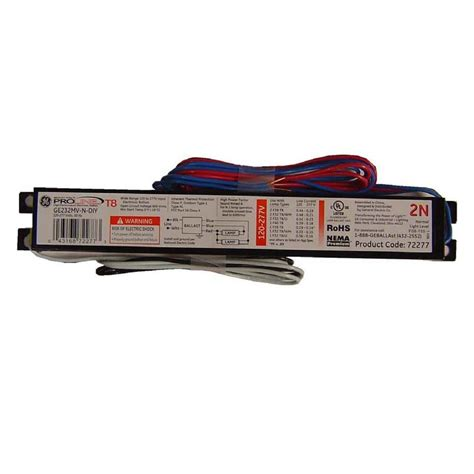 ge 120 to 277 volt electronic ballast for 4 ft 2 l t8