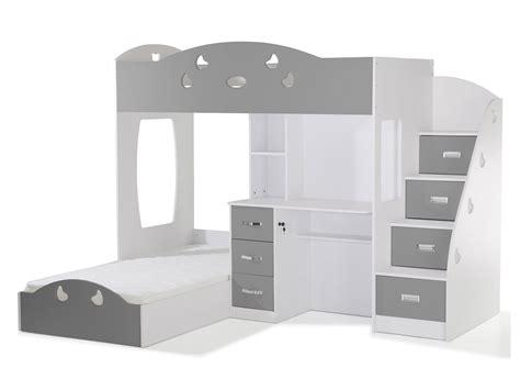 lit superposé avec bureau intégré lit superposé avec rangements et bureau 90x190cm combal