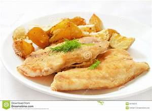 Fried Fish Fillet With Baked Potatoes Royalty Free Stock ...
