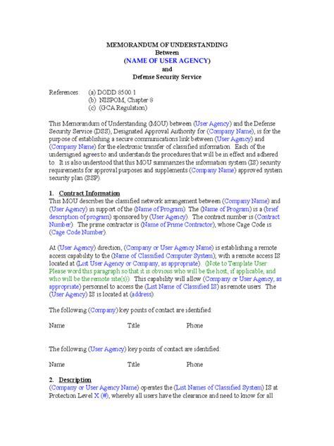 memorandum  understanding   templates