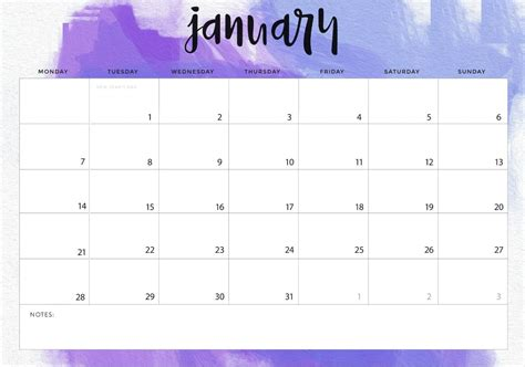 january desk calendar printable template planner january