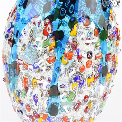vasi in vetro di murano artico vaso azzurro in vetro di murano e millefiori