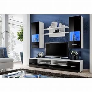 chloe decoration meuble tv design mural peker noir et With meuble salon noir et blanc 5 meuble tv design mural trendymobilier