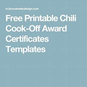 free printable chili cook off award certificates templates With chili cook off award certificate template