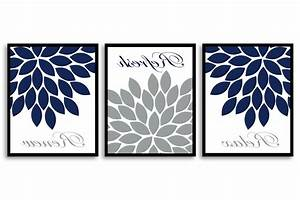 Bathroom wall decor navy blue white grey chrysanthemum