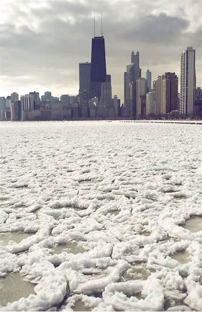 Michigan Gifs Lake Ice Chicago Winter Animated