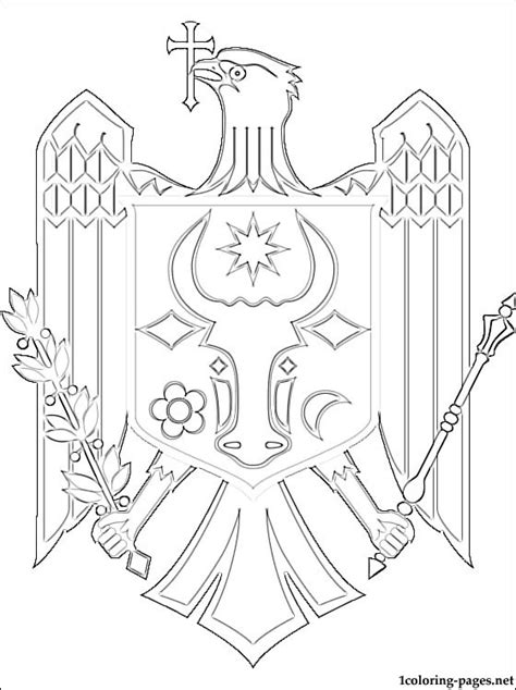 moldova coat  arms coloring page coloring pages