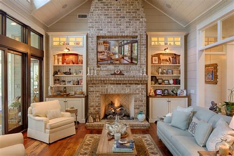 Country Living Room Ideas With Fireplace by Country Living Room With Wall Sconce Fireplace