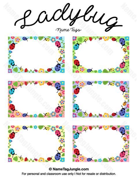 name tag template free printable printable ladybug name tags