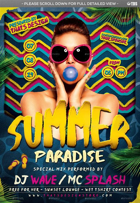 beach party flyer bundle   images party flyer