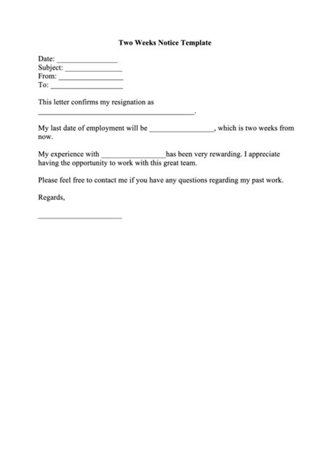 fillable  weeks notice template printable