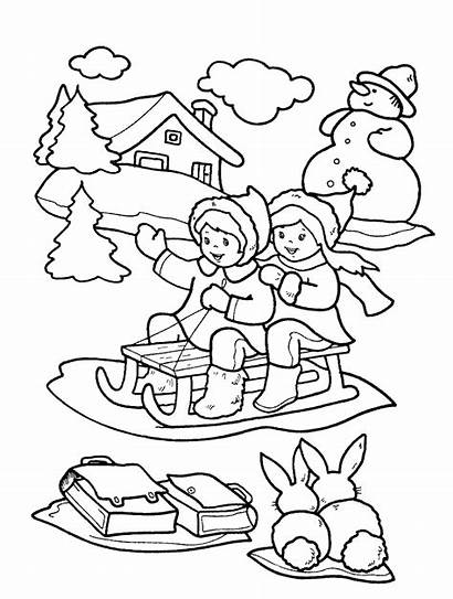 Coloring Winter Pages Printable Seasons Children Sledge