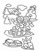 Coloring Winter Pages Printable Sheets Scribblefun Children Seasons Sledge Clothes Sledding Let sketch template