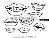 Lips Coloring Vector Kissing Drawing Shutterstock Sketch Bandit Illustration Adult Isolated Tooth Comics Template sketch template