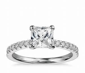 1 Carat Preset Princess-Cut Petite Pavé Diamond Engagement ...