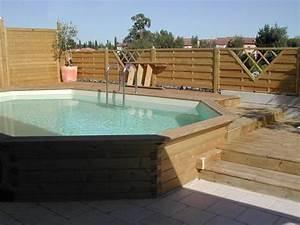 piscine hors sol semi enterree piscine pinterest With marvelous terrasse piscine semi enterree 12 piscines bois petite piscine hors sol enterree