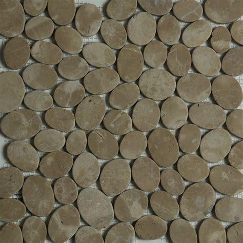 brown sliced pebble mosaic tile