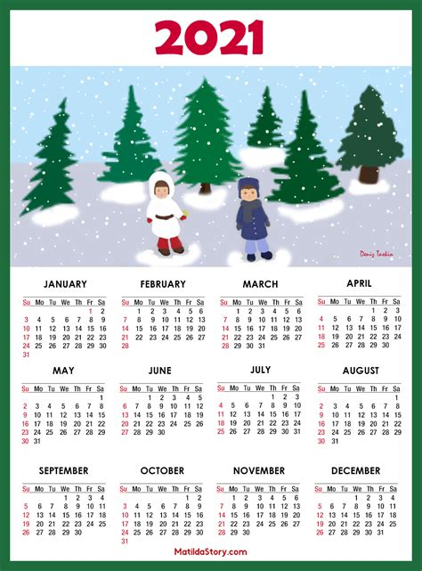 calendar  printable  page sunday start