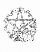 Pentagram Wheel Pagan Wiccan Sabbat Wreath Wicca Prints Pentacle Tattoo Symbols Coloring Printable Samhain Drawing Magic Colouring Adult Beltane Ancient sketch template