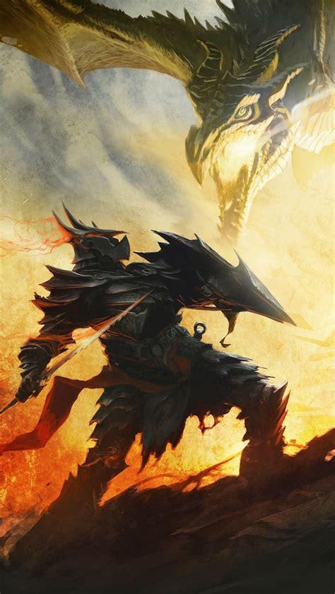 Dragon Born In Daedric Armor Fighting A Dragon Skyrim